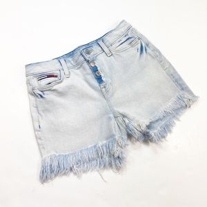 Hi-Rise Tommy Hilfiger Raw Hemmed Denim Shorts